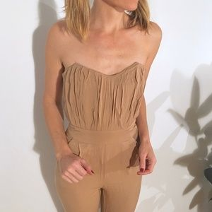 ASOS Ruched Strapless Bodice Fitted Jumpsuit